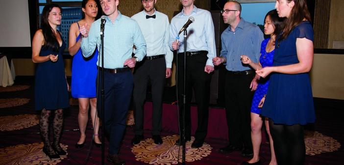 Alpert Medical School student a cappella group performing (Credit: Adam Mastoon)