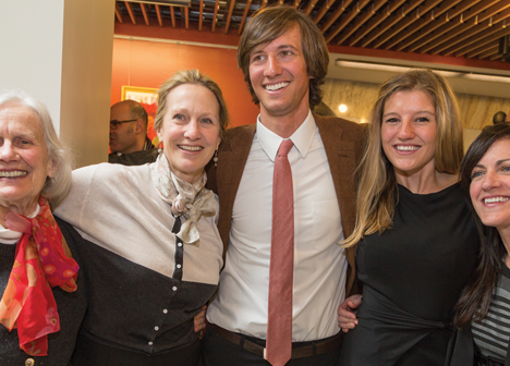 Nicholas Nassikas MD '15, center, celebrates his match with, left to right, his grandmother Virginia Chafee; his mother, Georgia Chafee Nassikas; his fiancée, Hopestill Kraft; and his cousin Marcy Hall, assistant director of admissions at the Medical School.(Credit: Scott Kingsley)