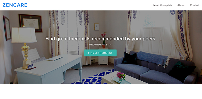 Zencare is a website created by Brown alumni and students that helps people find therapists in the Providence area.