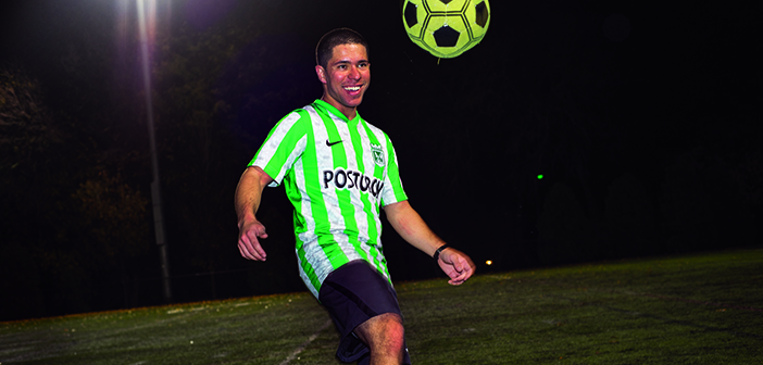 "HEADS UP: ""As a Colombian, I'm very passionate about soccer,"" says David Hernandez. He's wearing the jersey of Atlético Nacional, ""the best team in Colombia and my favorite team,"" he says. Photo by Karen Philippi"