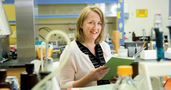 """TRANSLATOR: Beth Harrington has collaborated with physician-scientists since graduate school. """"I always wanted to keep my research clinically relevant,"""" she says. Photo by Karen Philippi"""