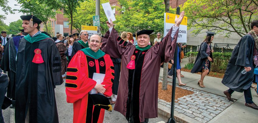 COMMENCEMENT: Associate Dean for Medical Education Allan R. Tunkel, MD, PhD, left, and Associate Professor of Medicine Dominick Tammaro