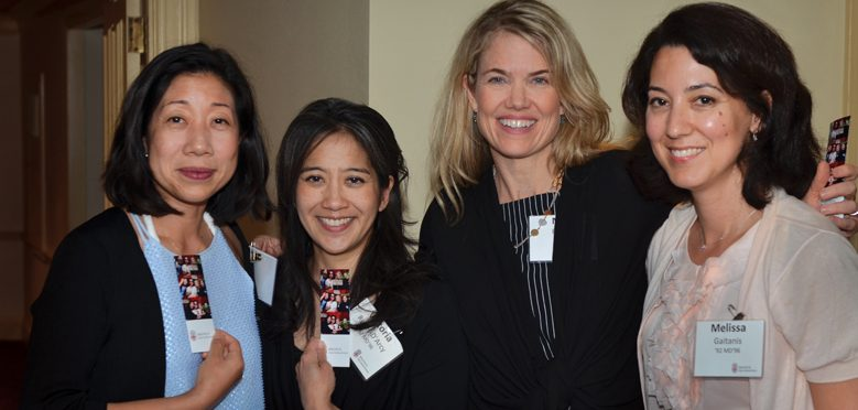 REUNION DINNER: Left to right, Yeuen Kim '92 MD'96, Victoria Reyes-D'arcy '92 MD'96, Meg Rydell MD'96, and Melissa Gaitanis '92 MD'96