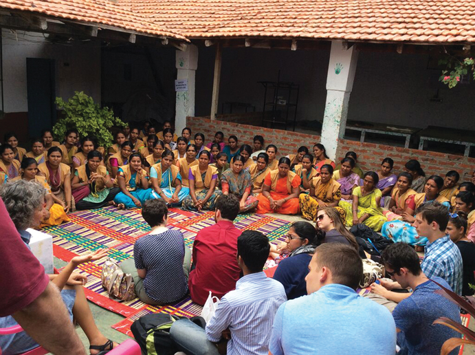 ON-THE-GROUND EXPERIENCE: MPA students learn about global policy at a nonprofit in India. Photo courtesy Watson Institute