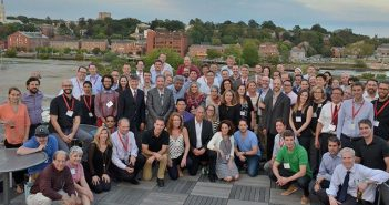 Emergency medicine alumni, residents, and faculty gather in Providence for a reunion in September. Photo by Caroline Gollub