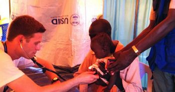 Adam Levine, MD, treats a child at an International Medical Corps clinic in Juba, South Sudan. Photo courtesy Levine