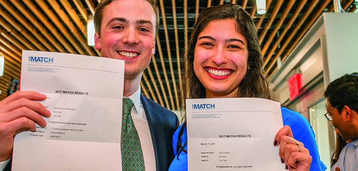 COUPLE MATCH: Geoffrey McCrossan MD'17 and Julie Gutierrez '13 MD'17 met and started dating during the first year of medical school. They got engaged March 4 and are headed to Texas together. Photo by David DelPoio