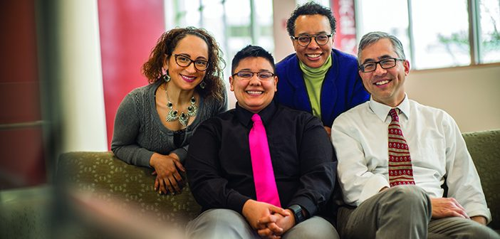 DREAM TEAM: The staff of the Office of Diversity and Multicultural Affairs, from left, Zoila Quezada, Ry Garcia-Sampson, Tracey Guthrie, and Joseph Diaz. Photo by Karen Philippi