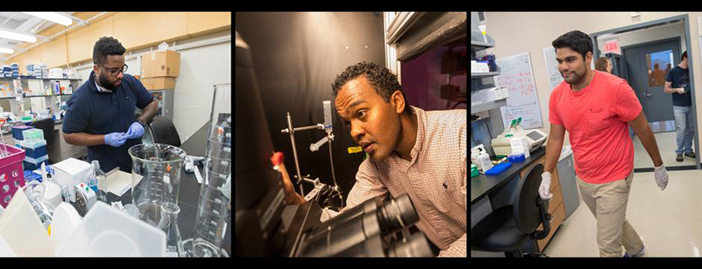 Shawn Williams, Arif Hamid, and Kavin Nuñez, left to right, have all been honored as future leaders in the life sciences with competitive HHMI fellowships. Photos by Nicholas Dentamaro