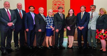 THE PRINCIPALS: From left, Lindsay Graham, formerly of Brown; Louis Rice, University Medicine; Abrar Qureshi, Brown Dermatology; Dean Jack Elias; Angela Caliendo, BPI interim executive director; Brian Zink, University Emergency Medicine; Karen Furie, Neurology Foundation; Willian Cioffi, University Surgical Associates; Mark Signman, Brown Urology; and Kimberly Galligan, BioMed executive dean. Photo by David DelPoio.