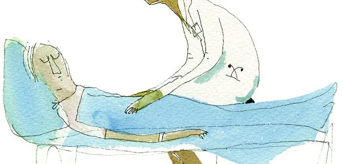 The Burden of Knowledge: A resident grapples with death, as a doctor and as a daughter. Illustration by Blair Thornley.