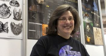 Professor Sharon Swartz staffs a booth conducting outreach on bat research at a recent AAAS meeting. Photo by David Orenstein