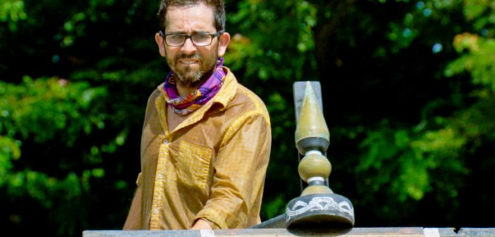 "Alum Mike Zahalsky finds balance in the immunity challenge on episode 8 of ""Survivor."" Photo courtesy CBS"