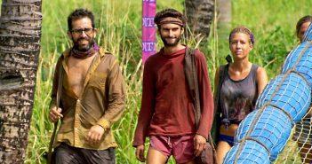 "Alum Mike Zahalsky, left, with Ryan and Chrissy on ""Survivor."" Photo courtesy CBS"