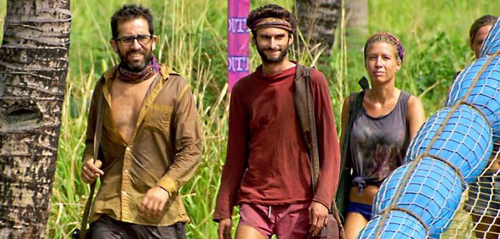 "Alum Mike Zahalsky, left, with Ryan and Chrissy on ""Survivor."" Photo courtesy CBS"