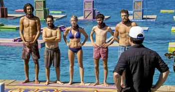 """Alum """"Dr. Mike"""" Zahalsky, second from left, gets ready to compete in one of his last challenges on the finale of """"Survivor."""" Photo courtesy CBS"""