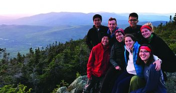 TOP OF THE WORLD: First-year students FOAM-Out. Back row, left to right: David Liu, Ruben Lesnick, Jeffrey Lam, Tina Hinman. Front row, left to right: Tony Yao, Hannah Kerman, Julia Bassell, Nina Kvaratskhelia. Photo by Julia Hadley MD'20