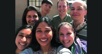 Selfie Time: The Ramachandran Lab, from left, front row: Priyanka Nakka, Sohini Ramachandran, and Lauren Alpert Sugden; back row: Sahar Shahamatdar, Wei Cheng, Sam Smith, and Michael Turchin. (Not pictured: Kaileigh Ahlquist, Kate Brunson, and Elijah Carrel.) Photo by Sohini Ramachandran