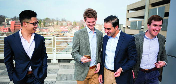 FAB FOUR: Jonathan Vu, Pete Mattson, Anshul Parulkar, and Nathan Pertsch (left to right) are the Brown Medical Venture Group. Photo by Jordan Emont MD'20