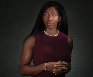 "SERVICE ORIENTED: Uzoamaka Okoro is one of three military women at the Warren Alpert Medical School. ""My whole life has been making commitments,"" she says."
