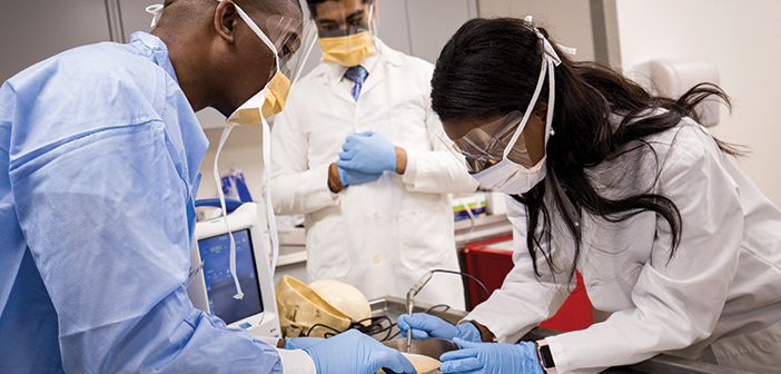 Students practice neurosurgery techniques