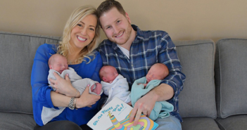 Jillian Hobbins, here with her husband, Adam, and their fraternal triplet boys are enrolled in the Hassenfeld Study.